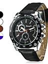 남성 밀리터리 시계 손목 시계 석영 PU 밴드 블랙 화이트 브라운