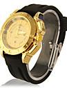 Unisexe Golden Dial bande de silicone Casual Montre-bracelet à quartz analogique (Black)