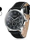 reloj de pulsera analógico banda de auto-mecánica 6 punteros de los hombres de cuero negro (colores surtidos)
