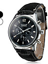 Men's Auto-Mechanical 6 Pointers Black Leather Band Wrist Watch (Assorted Colors)