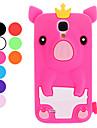 Прекрасный мультфильм свинья с наследным мягкий чехол для Samsung Galaxy i9500 S4 (разных цветов)