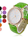 여자의 둥근 지르콘 화이트 다이얼 석영 아날로그 손목 시계 (분류 된 색깔)