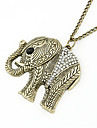 Vintage Alloy Zircon Elephant Pattern Necklace(Assorted Colors)