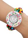Madeira analógico relógio pulseira de quartzo das mulheres (Multi-Colorido)