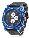 Men's Blue Square Case Fabric Band Quartz Analog Wrist Watch Cool Watch Unique Watch
