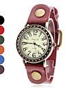 Style décontracté en cuir analogique montre-bracelet à quartz pour femmes (couleurs assorties)