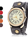 Women's Vintage Case Wide Leather Band Quartz Wrist Watch (Assorted Colors)