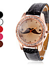 Women's Quartz Analog Mustache Pattern Dial Diamante Case PU Band Wrist Watch (Assorted Colors)