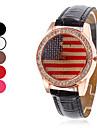 Amérique du Drapeau conception PU quartz analogique montre-bracelet des femmes (couleurs assorties)