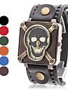 Crâne en cuir de style montre bracelet à quartz analogique de la femme (couleurs assorties)