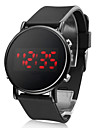 Unisex Round Mirror Face Red LED Digital Black Silicone Band Wrist Watch