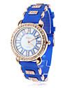 Кварцевые аналоговые женщин Diamante случае силиконовой лентой наручные часы (разных цветов)