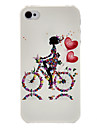 Girl on the Bicycle Pattern Transparent Frame PC Case For iPhone 7 7 Plus 6s 6 Plus SE 5s 5c 5 4s 4