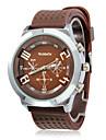унисекс коричневый циферблат PU Группа Кварцевые аналоговые наручные часы