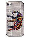 Flor Decorado elefante colorido desenho Padrão Black Frame PC Hard Case para iPhone 4/4S
