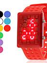 남녀 공용 중공 스타일 (분류 된 색깔) 디지털 방식으로 고무 손목 시계를 LED