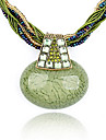 Vintage Bohemian tyle Bead Zircon Oval Pendant Necklace(Aorted Color)