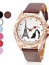 Tour Eiffel style PU quartz analogique montre-bracelet des femmes (couleurs assorties)