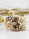 Lureme®Gold Plated Alloy Zircon Flower Pattern Ring Set