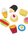 Cartonn Fast Food padrão Eraser bonito (4pcs, formas aleatórias)