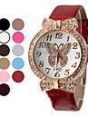 여성의 골드 다이얼 나비 패턴 PU 아날로그 석영 손목 시계 (분류 된 색깔)
