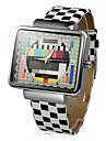 женская телевизор шаблон квадратный корпус решетки PU Группа Кварцевые наручные часы