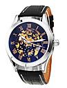 SHENHUA Мужской Наручные часы Механические часы С гравировкой С автоподзаводом Кожа Группа Черный