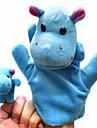 2PCS Parent-enfant Hand & Finger Puppets Bleu hippopotames