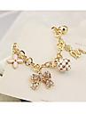 Zircon d'alliage de trèfle bracelet de perle Angle Motif plaqué or (couleurs aléatoires)