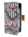 아이폰4/4S용 하트모양 기프트 케이스 패턴 PU 카드 지갑 및 전체 바디 케이스