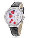 Women's Ladybird Style PU Analog Quartz Wrist Watch (Black)