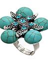 anel ajustável strass flor turquesa das mulheres