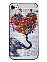 Слон с цветами в руках цветной рисунок Pattern черная рамка PC Жесткий чехол для iPhone 4/4S