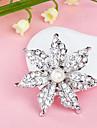 도금 가득 차있는 모조 다이아몬드 꽃 펄 화이트 브로치