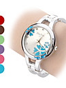 Women's Flower Pattern Round Dial Steel Band Quartz Analog Bracelet Watch (Assorted Colors) Cool Watches Unique Watches