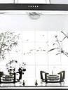 90x60cm Wash estilo do desenho de óleo à prova de água à prova de cozinha adesivo de parede