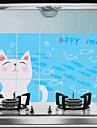 75x45cm chat de bande dessinée Modèle étanche à l'huile imperméable à l'eau chaude Preuve autocollant de mur de cuisine