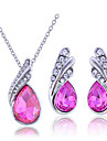Lureme®Crystal Teardrop Shape Earrings And Necklace Jewelry Set(Assorted Color)