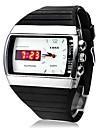 Мужские аналого-цифровые LED кварцевые наручные часы с ремешком из кожзама