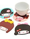 Japanese Girl Silicone Coasters