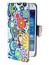 Cercles exquis et motif de fleurs étui en cuir PU avec bouton pression magnétique et lecteur de carte pour Samsung Galaxy S4 mini-I9190