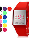 Unisex Square Mirror Face Red LED Digital Rubber Band Wrist Watch (Assorted Colors) Cool Watches Unique Watches