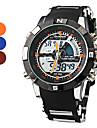 남자의 아날로그 - 디지털 다기능 블랙 케이스 실리콘 악대 손목 시계 (분류 된 색깔)