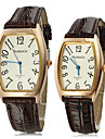 Couple's Gold Dial Brown Leather Grain PU Band Quartz Analog Wrist Watch