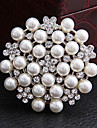 여성의 둥근 모조 다이아몬드 진주 브로치 (임의의 색)