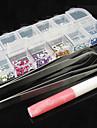 12 cores Acrílico Nail Art Decoração Pedrinhas com duas pinças Glue (cor aleatória)