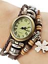 여성 빈티지 스타일의 네 잎 클로버 펜던트 브라운 가죽 밴드 석영 팔찌 시계