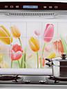 75x45cm Красочные Tulip шаблона Нефть-Proof Водонепроницаемый Горячий-Proof Кухня стикер стены