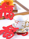 "Chinese ""福"" Word Pattern Felt Coaster Cup Mat"
