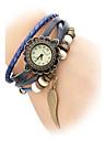 Couro analógico relógio de pulso de quartzo das mulheres (faixa laranja)